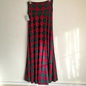 New Harlequin Style Raspberry Maxi Skirt - Sm
